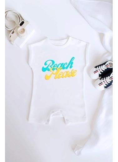 Happy Onesie Co Beach Please Organik Baskılı Kısa Tulum Romper Beyaz